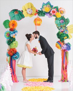 colourful paper flower arch