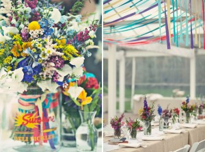 greenhouse colourful wedding